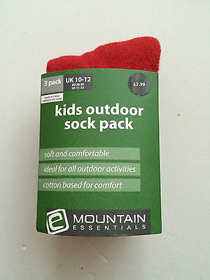 3 PK Kids outdoor socks, red colour, UK size C 10-12, EU 28-30
