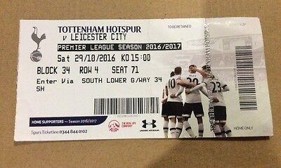 Tottenham Hotspur (Spurs) V Leicester City - Used Ticket Stub: 29th October 2016