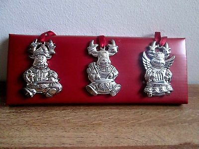 Gorham Silverplated Reindeer Ornaments Set of 3 NEW IN BOX