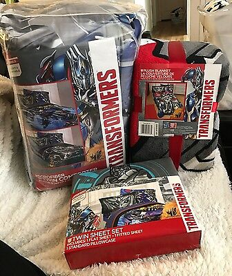 Transformers Twin Comforter And Sheet Set With Plush Blanket