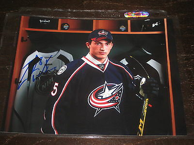 ZACH ZACHARY WERENSKI autographed COLUMBUS BLUE JACKETS 8x10 photo