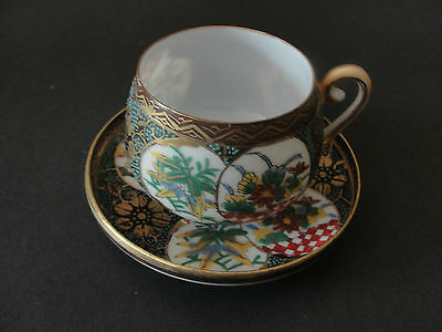 Nice Japanese Arita Hand Painted Antique Demitasse Cup And Saucer.marked.