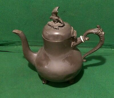Vintage Pewter Tea Pot with Bird of Prey Finial