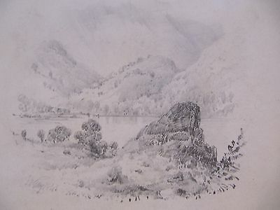 19th CENTURY, Pencil Drawing, A LAKE LANDSCAPE, indistinctly signed, dated 1845