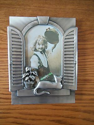 Beautiful Cat In The Window Silver Metal Picture Frame