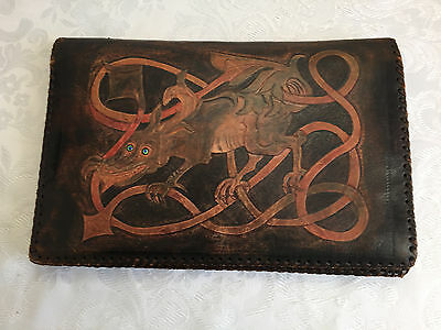 Dragon Design Leather Wallet Inc Autograph Grn Shield Stamps Receipts Telegram