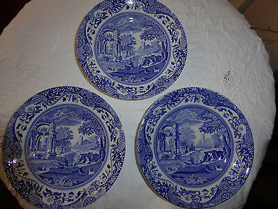Italian Spode design blue x white 3 small saucers collectable