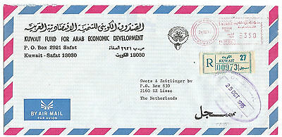 """Meter Cover to HOLAND - """" KADESSIA"""" Cancel - """" Kuwait Fund"""" - Registered"""