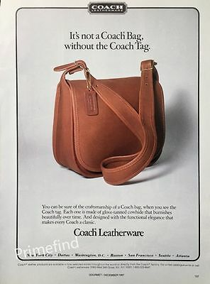 1987 COACH Leatherware Not a Coach Bag without the Coach Tag ORIGINAL PRINT AD