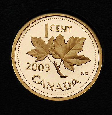 2003 Canada 1 cent frosted proof penny from Proof Set - ultra cameo