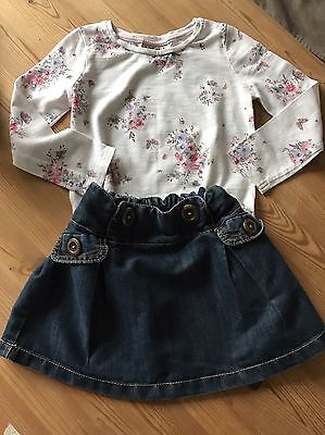 Next Outfit Bundle Girls 2-3 Years Denim Skirt And Long Sleeved Top