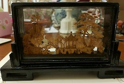 Vintage Chinese Hand Carved Cork Diorama, Pagoda, Cranes, Trees etc