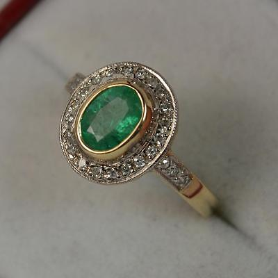 Classic 0.80ct Emerald & Diamond 9ct Gold Engagement Cluster Ring p0410