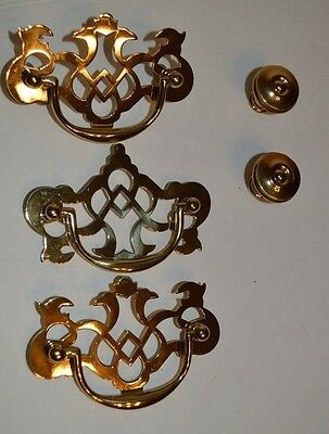 Vintage brass ornate drawer pulls handles and knobs