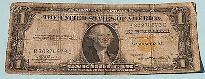 1935 A  One Dollar  Silver Certificate  North Africa  Yellow Seal Note