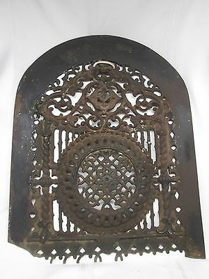Antique Heavy Cast Iron Ornate Decorative Fireplace Screen Cover Grate Guard