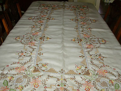 Vintage Pina Embroidered Tablecloth