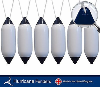 """6 X Hurricane Boat Fenders - White with Blue Ends - 26"""" x 8""""- FREE ROPE INCLUDED"""
