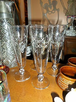 Antique French  Set of 4 fluted Champagne glasses   Cut crystal  19 Th Century