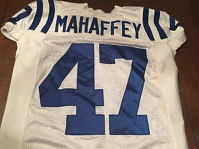 Indianapolis Colts Game Used Worn Jersey Mahaffey Away jersey White Number 47