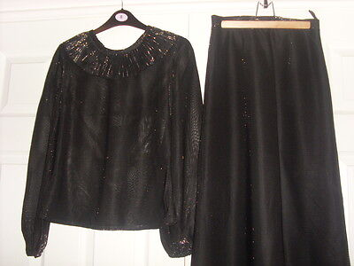 Toplet black & silver 2 piece evening skirt & top size 10