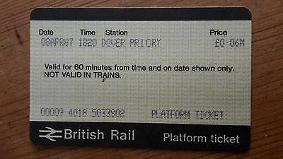 PLATFORM TICKET British Rail from DOVER PRIORY 8 APR 1987