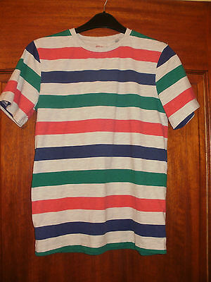 Childs Blue Zoo short sleeve striped t shirt age 11-12 years