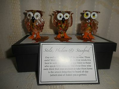 Pier 1 Glass Owl Set