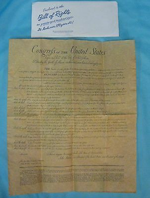 Bill of Rights Authentic Reproduction on Parchment