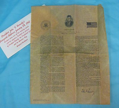 John F Kennedy Inaugural Address Reproduction on Parchment
