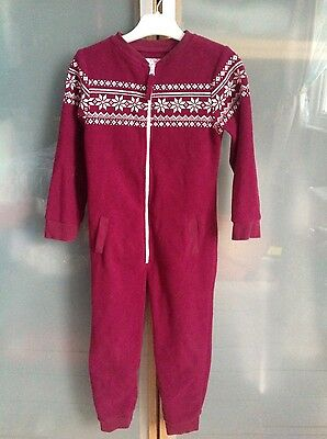Cosy burgundy fleece onesie age 3-4 with bag
