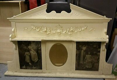 Large ornate wooden victorian painted over mantle Mirror shabby chic