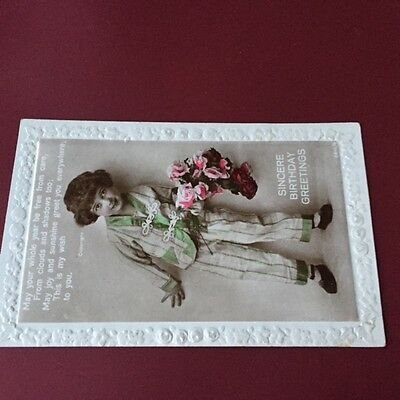Vintage Photo Postcard Victorian Birthday Greetings Children No. 2610/4 Unposted