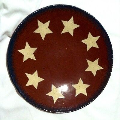 New Foltz Redware Stars Plate 1996 Blue Dish Pottery Perfect Condition Signed