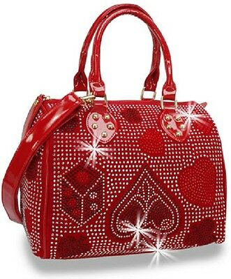 Rhinestone Red Playing Card Suits Satchel Design on all Sides Detachable Strap