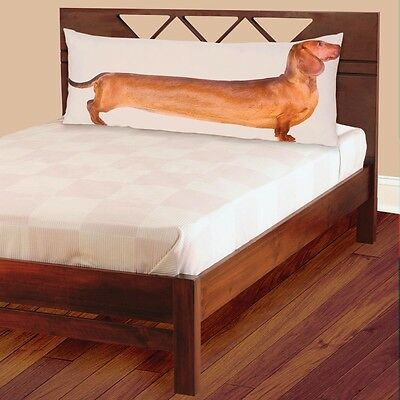 """Red Dachshund Full-Length Photo Real Body Pillow Case 54"""" Long"""