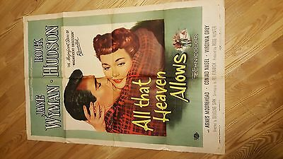 ALL THAT HEAVEN ALLOWS ROCK HUDSON 1955 Original 27 x41 Movie Poster