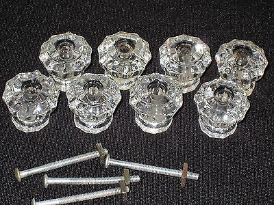 "8 Glass 10 Sided Vintage Antique Knobs Drawer Door Pulls 1 1/8"" Across"