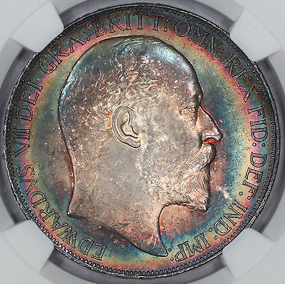 1902 Great Britain Crown Silver NGC MS63! World Class Rainbow Toned! STUNNING G3
