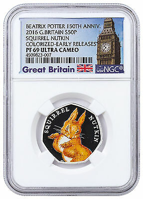 Squirrel Nutkin 2016 The Royal Mint UK 50p Silver Proof Coin with NGC PF69