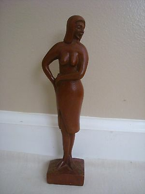 Hand Carved Light Wood Woman Lady Bust Statue Figure Paraguay
