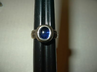 Vintage Artisan 925 Sterling Silver Blue Cabochon Stone Abstract Modernist Ring