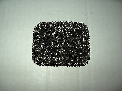 Vintage ART DECO Cut Steel Marcasite Shoe Buckle Leather Backing Made In France