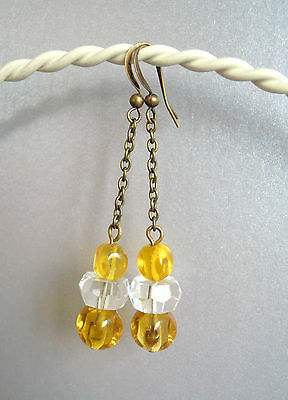 VINTAGE ART DECO CRYSTAL & 1950s OLD YELLOW DIMPLED GLASS BEAD EARRINGS necklace