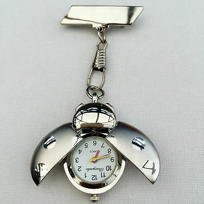 Silver Tone Ladybird Nurses Beautician Fob Watch Brooch Pin