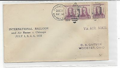 1933 International Balloon And Air Races Chicago, Ill With Stamps.