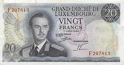 Luxembourg  20 Francs  7.3.1966  P 54a  Series F circulated Banknote , E20
