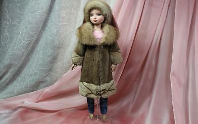 ~Honey Brown Sheared Mink Fur Coat and Hat for Ellowyne Wilde dolls~dimitha~