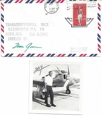 1965 Transcontinenta Race Clearwater To Reno Signed Tom Green W/pic & Stamp.