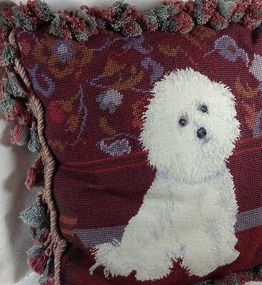 "BICHON FRISE Pillow Wool NEEDLEPOINT & Petit Point 15""+ Tassel Fringe Velvet Dog"